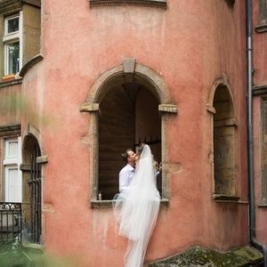 Accessories - Two Tier Cathedral Long White Wedding Veil w/Clip